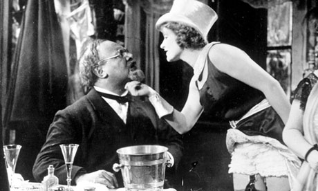 Emil Jannings as Professor Rath and Marlene Dietrich as Lola Lola in The Blue Angel (1930).